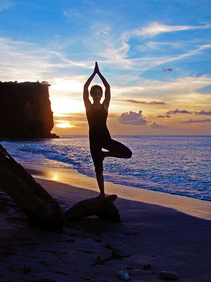 Daily yoga at Laluna's beach front yoga pavilion