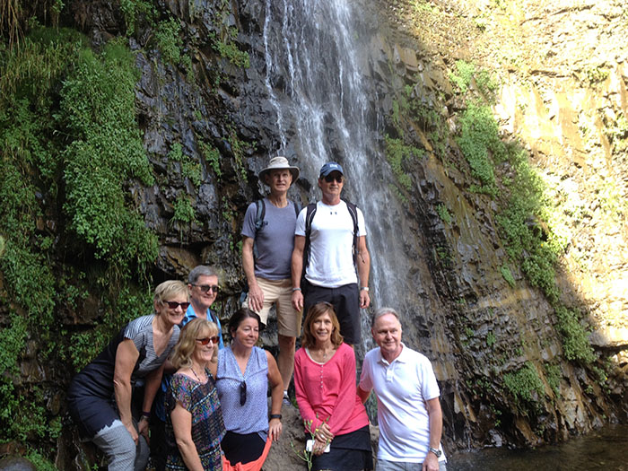 """Hike & Wines, Maipo Valley This group are arrived to the end of a easy hike where they saw animals like cougars, eagles and a lot of typical chiean flora. The hike is in San Alfonso village, and waterfall is know as """"fairy waterfall"""". After here, they will lunch at a local restaurant and after lunch they will visit a chilean winery."""