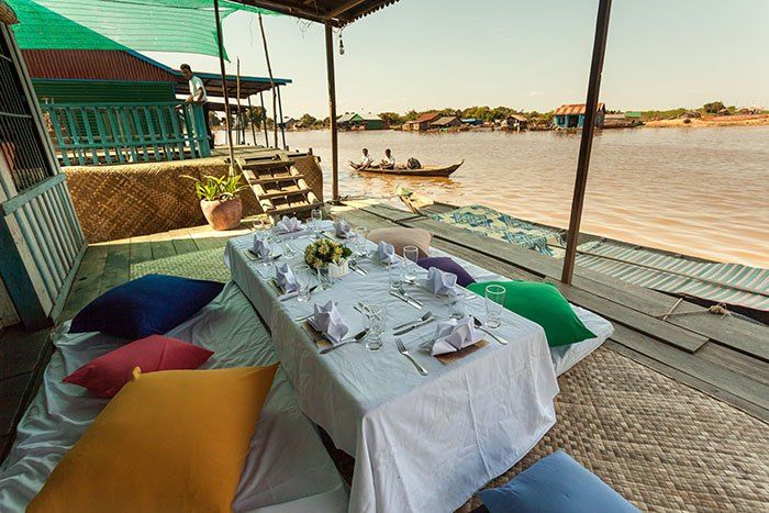 Catering lunch on a Flaoting House at Floating Village on Tonle Sap