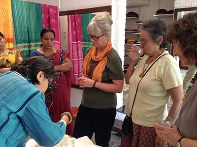Guests at a shibori workshop