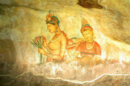 Sigiriya Fresco Paintings - Best places in Sri Lanka