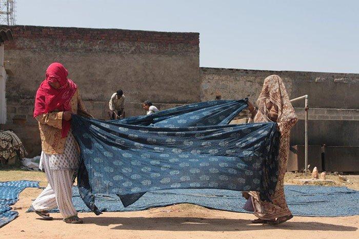 Indigo printing in process in Bagru, Rajasthan