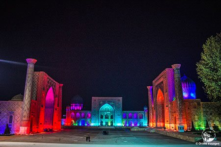 Samarkand, Registan Square in the night