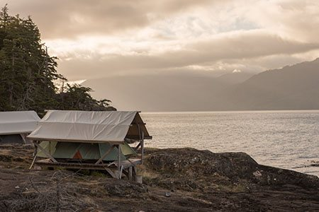 Our basecamp in mystic weather. Comfortable tents on wooden platforms overlooking the Pacific.