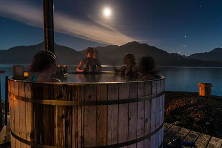 Chill and relaxe in our hot tub at our basecamp in Johnstone Strait.
